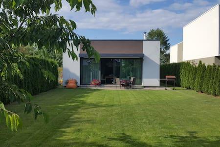 Modern house and green garden
