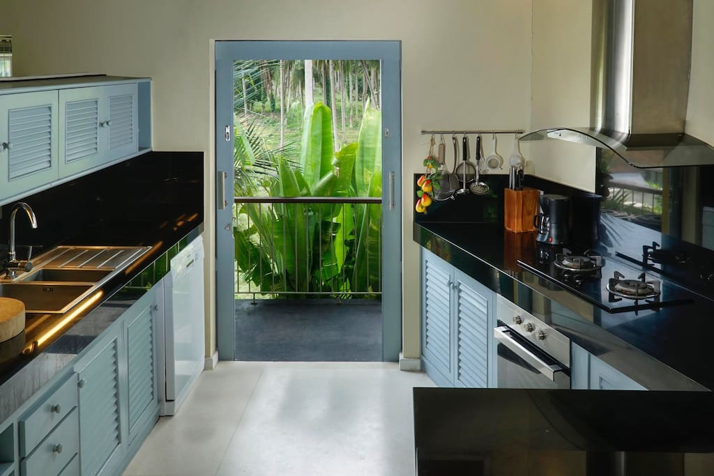 Kitchen overlooks coconut plantation