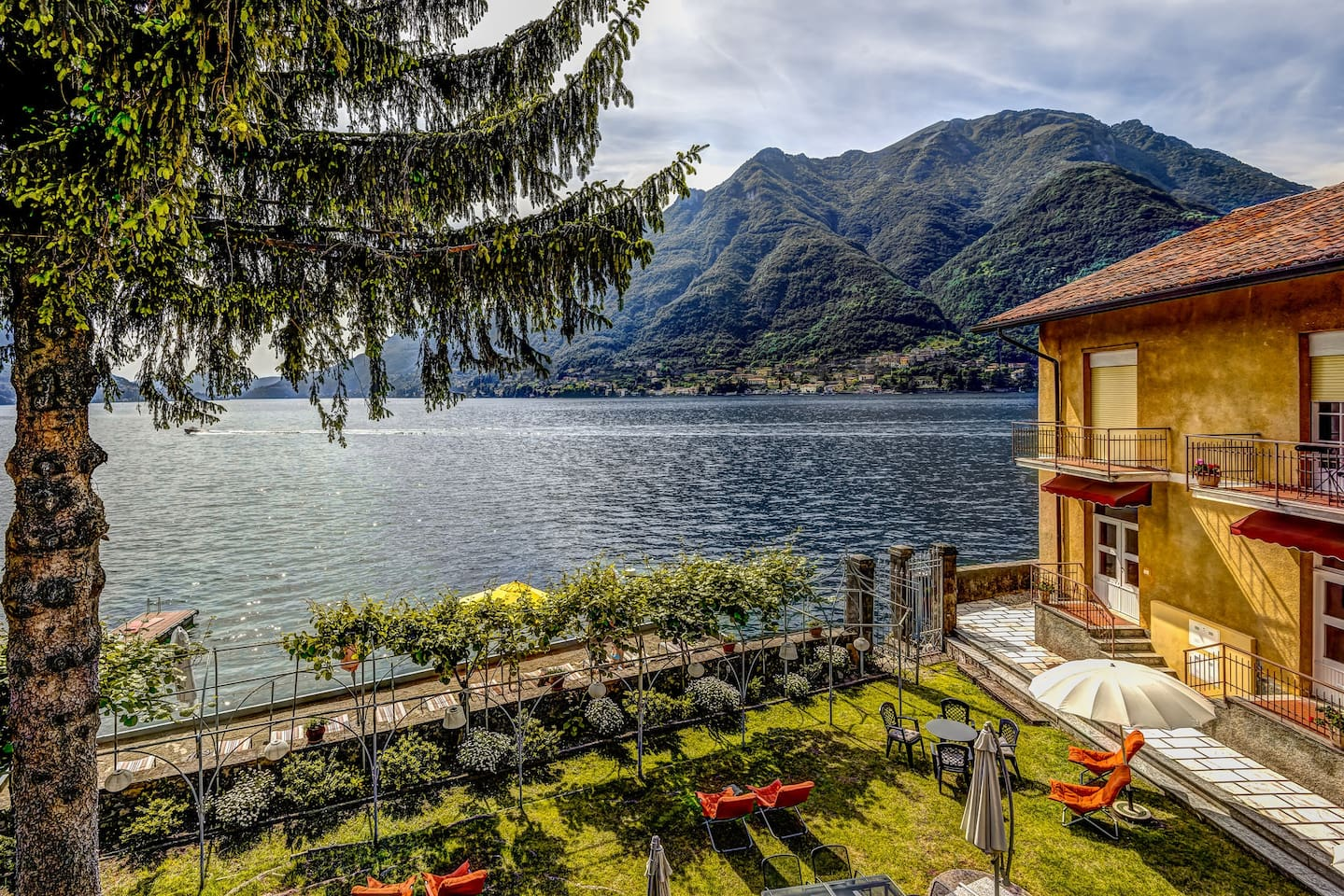 Balcony view of Lake Como and town of Lagilo