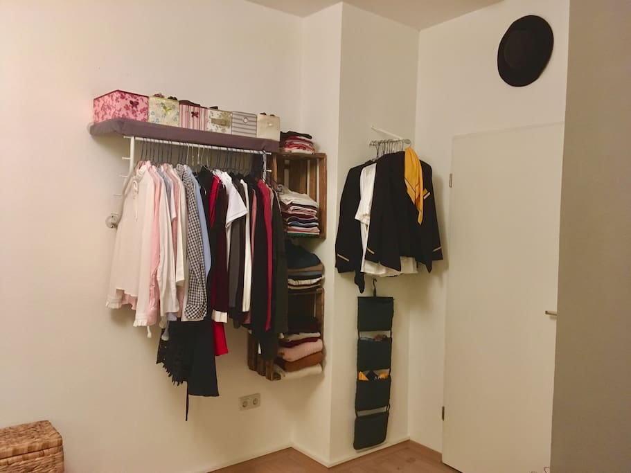 My closet, I will be making space for you depending how long you'll stay