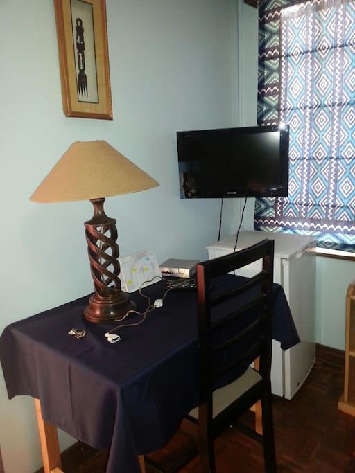 study desk, Fridge and TV