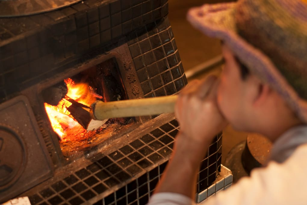 "Cooking rice in the ""Kamado"", the traditional way."