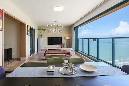 惠东万科双月湾景区/高层一线海景套房/下楼即沙滩/两房一厅/免费麻将