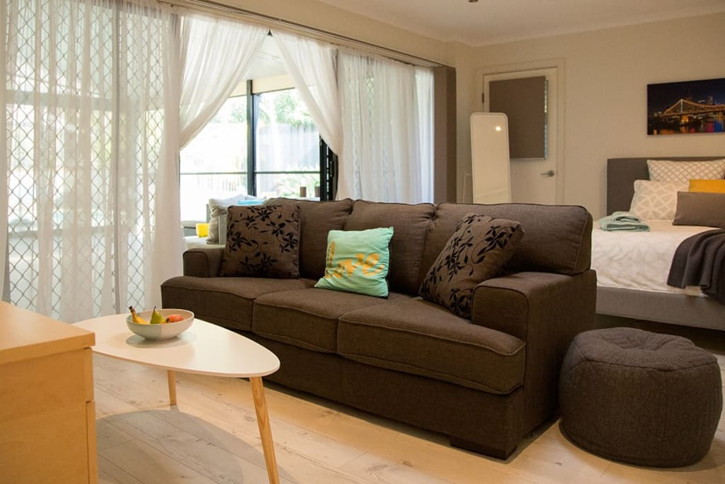 Sitting area. Sofa folds out to a double bed.