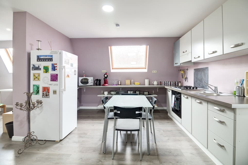 Share some food in this new open kitchen.