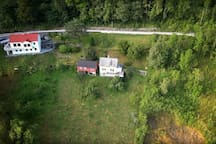 Sofia`s house and the garden in front seen from above. Drone-photo: Seger Emmers