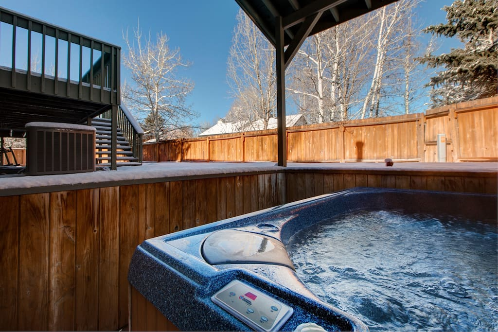Access a private hot tub from the ground floor living room.