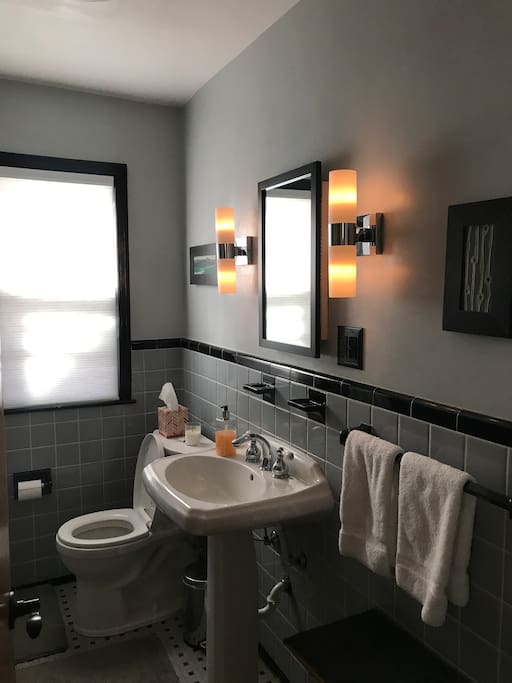 The shared bathroom is clean and easy to navigate.