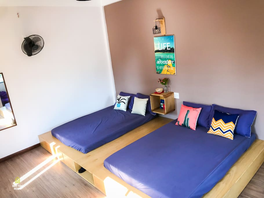 Twin double beds with external private bathroom