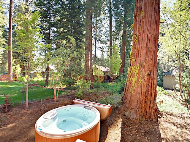 Your mountain hideaway includes a private hot tub.