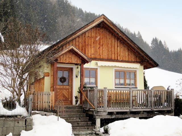 Charming holiday cottage on a hillside at about 980m altitude, with stunning views of the opposite Sölktäler