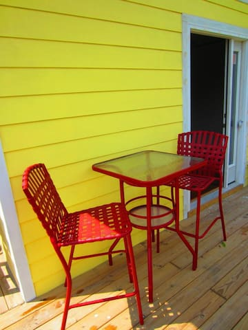 Deck provides private place for your morning coffee overlooking the garden