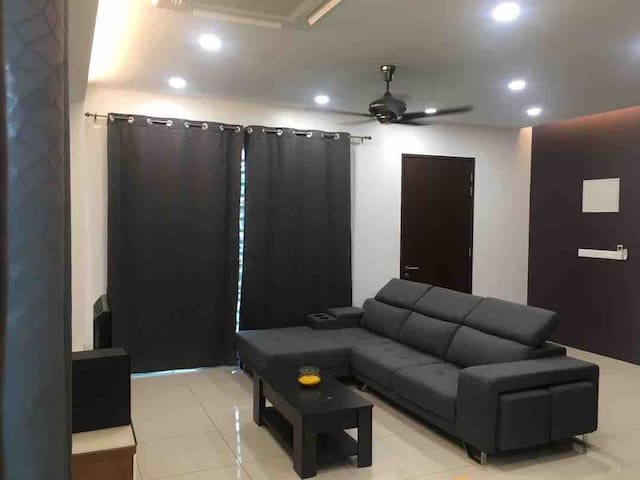 Soft  big sofa in living room  with good air-cord
