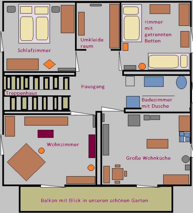 Grundriss der Wohnung 100 qm²
