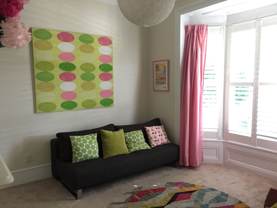Playroom/second living room with Queen sofa bed
