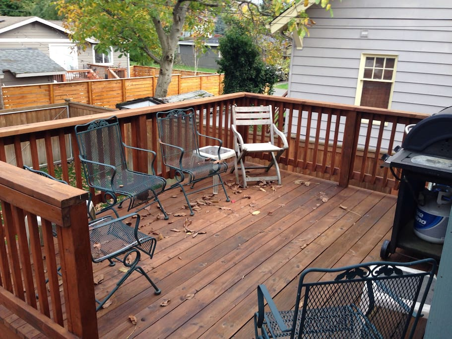 The back deck is a great placce to hang out and grill.