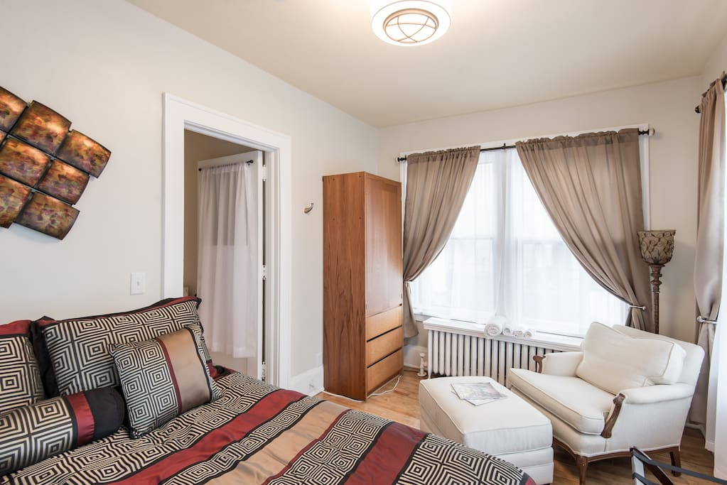 Guests love this bedroom with a nice sitting area for you to 'get away' and read.