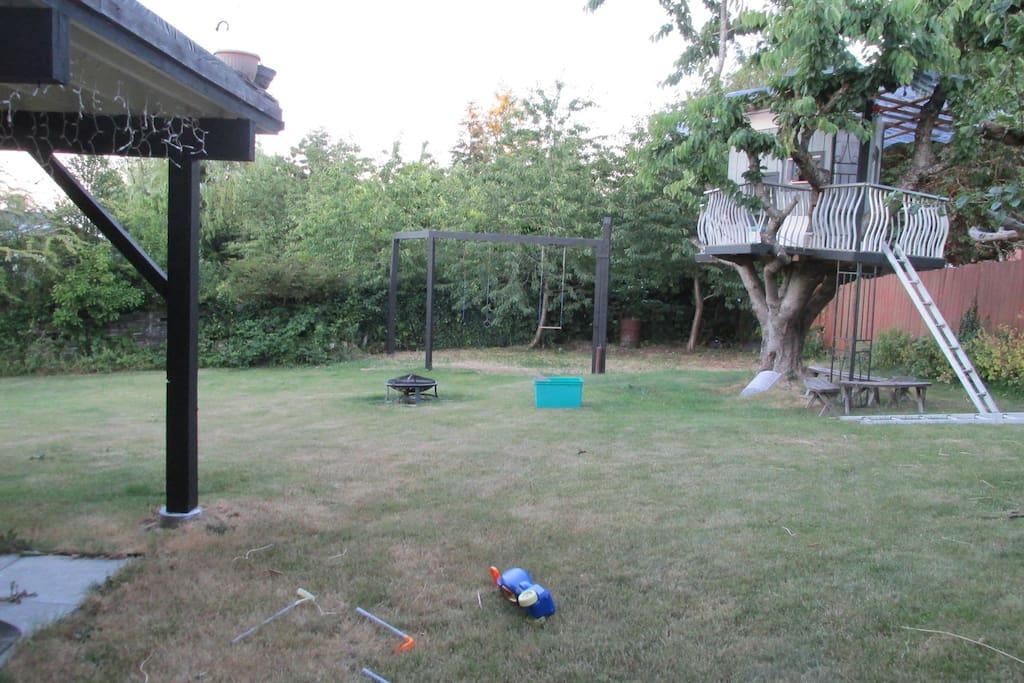 Large Backyard - Swing set and Tree Fort