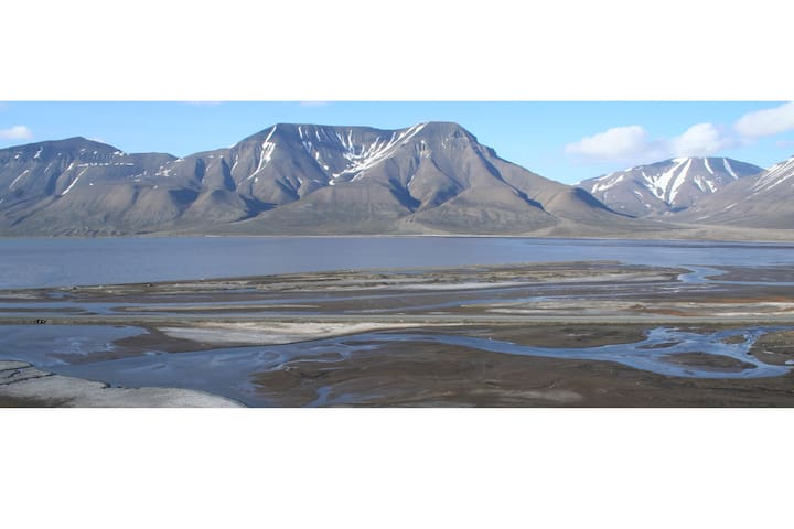 Fjord and mountain view in Spitsbergen