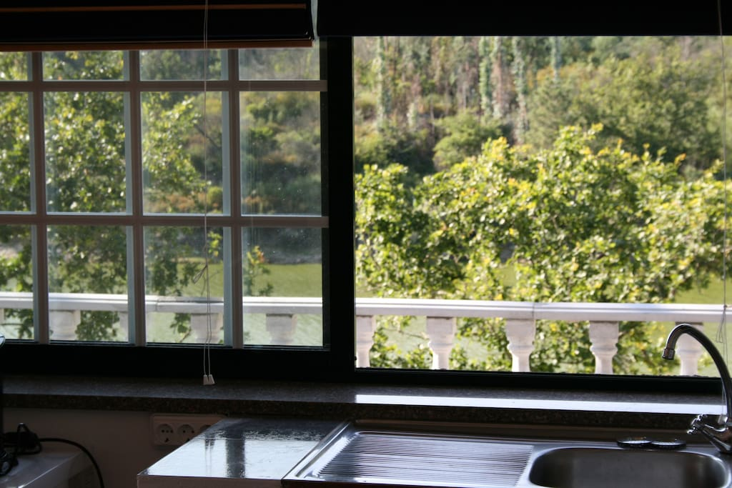Kitchen window with river view