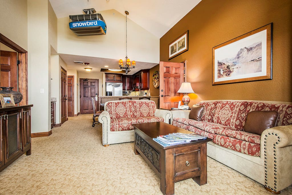 Awesome 1st Living-room with vaulted Ceiling & Sofa sleeper.