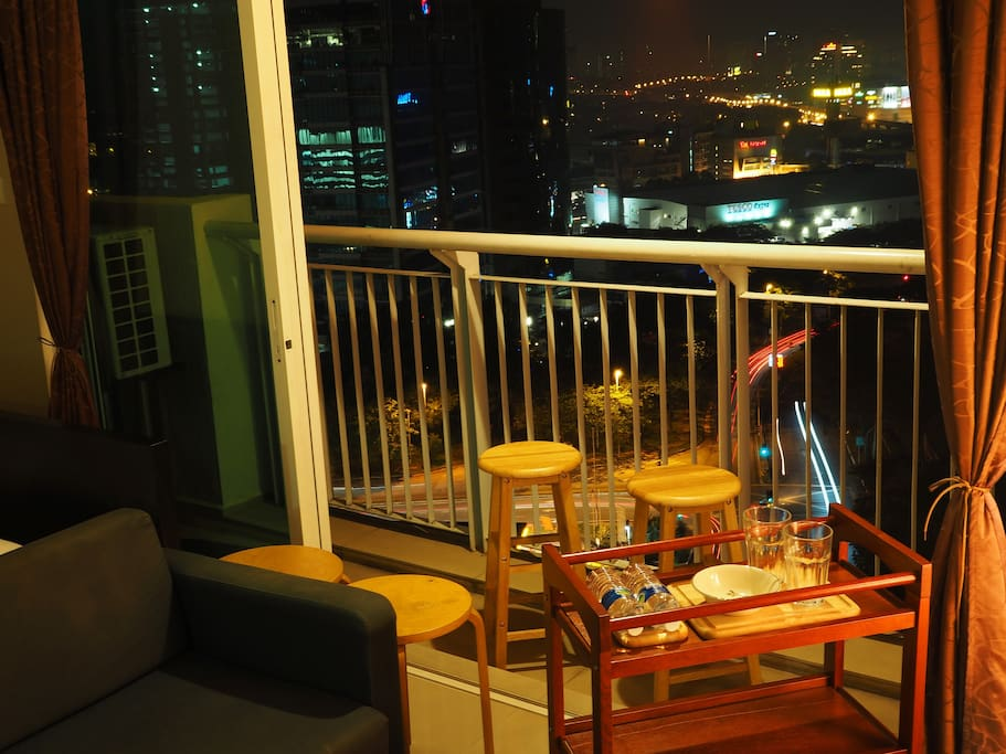 in-between spaces between the balcony and the living area during night time