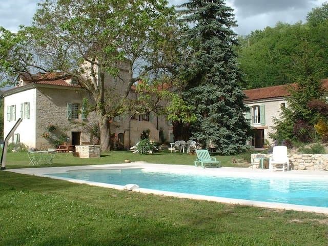 Sublime proprieté XIXème, piscine, parc fleuri. - Vers - บ้าน
