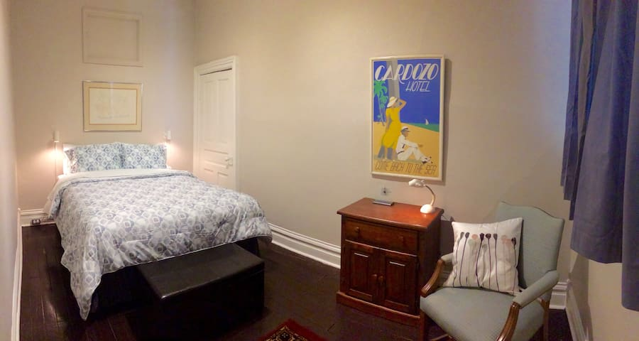 Bedroom # 2. Closet, ottoman, seating area, new comfy bed