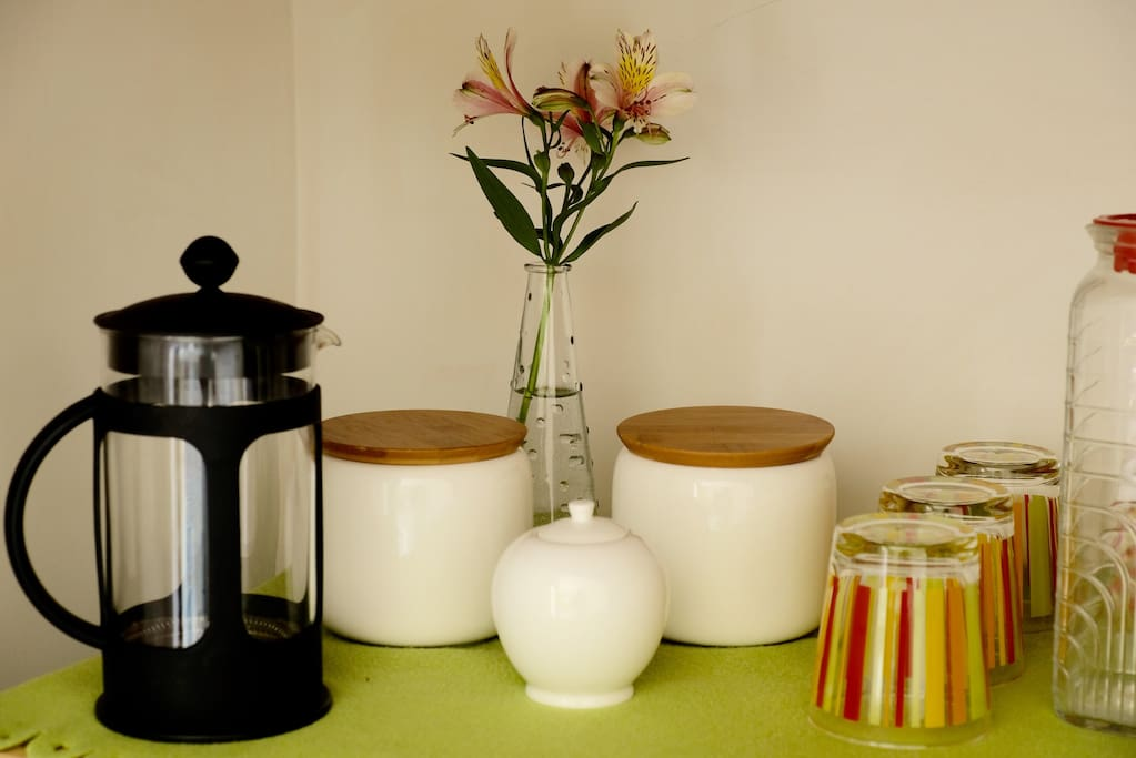 Tea, coffee and fresh water in your room.