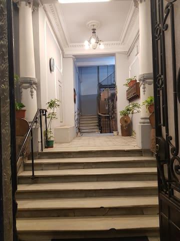 The building's entryway.