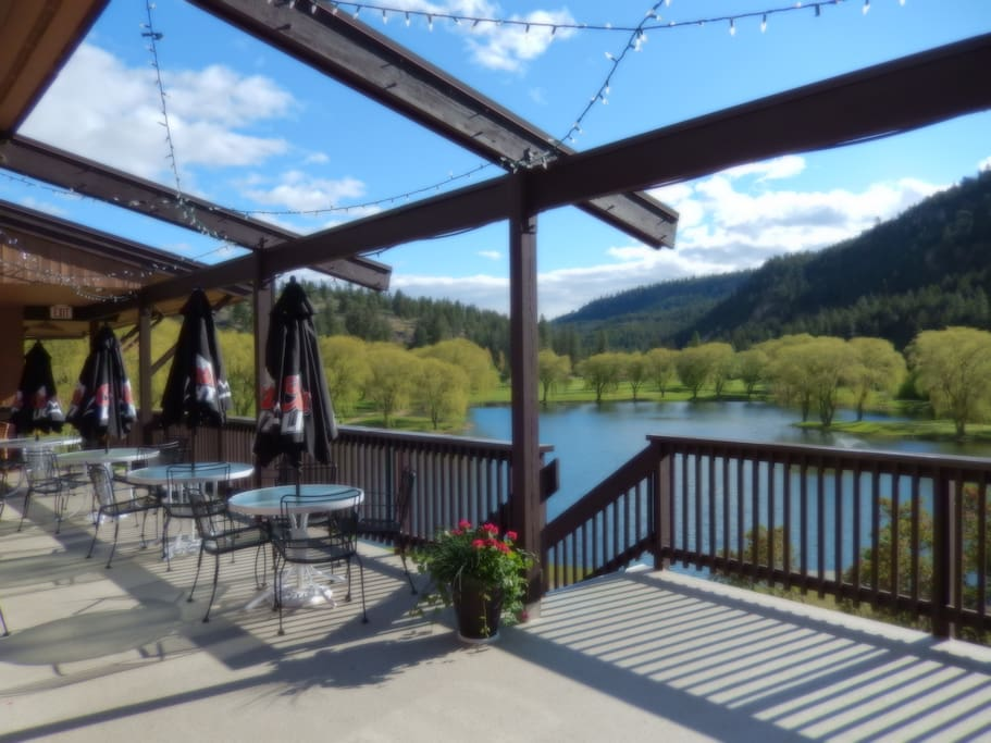 Restaurant patio with view of Prather Lake
