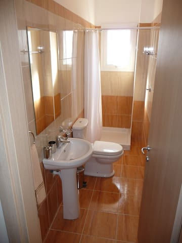 Bathroom with shower sink and WC