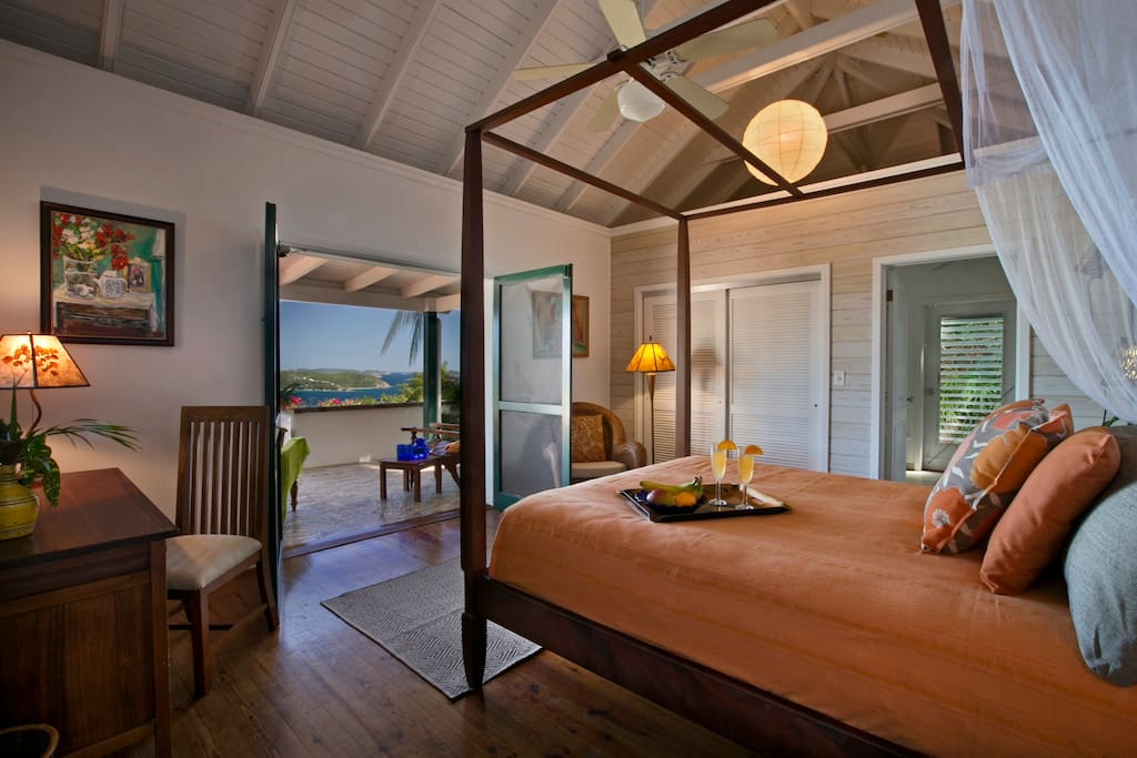 Coral Bay Bedroom #1 - Southeast Pavilion - Sunny and Airy - St. John, USVI Rental Villa