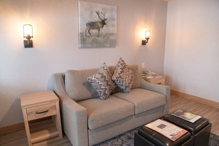 Quiet + Cozy Rockies Condo | Rundle View Balcony!