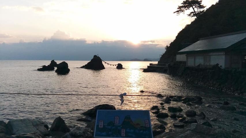Worshiping to Ise Shrine & Beach is close by ! Japanese-style room