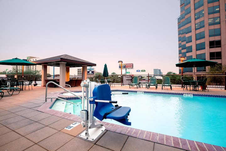 Accessible Studio 15 Minutes from the Alamo! | Free Breakfast + Outdoor Pool and Hot Tub