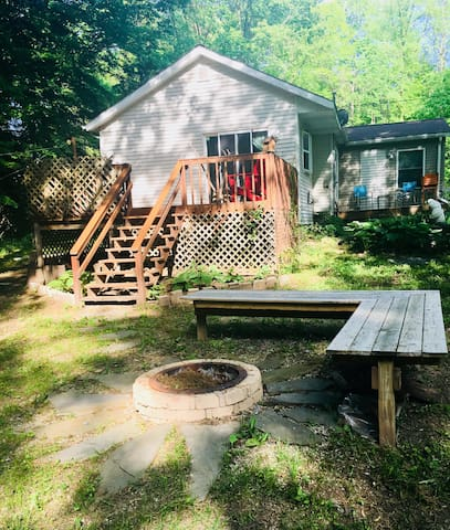 My home & deck & fire-pit from huge back yard!