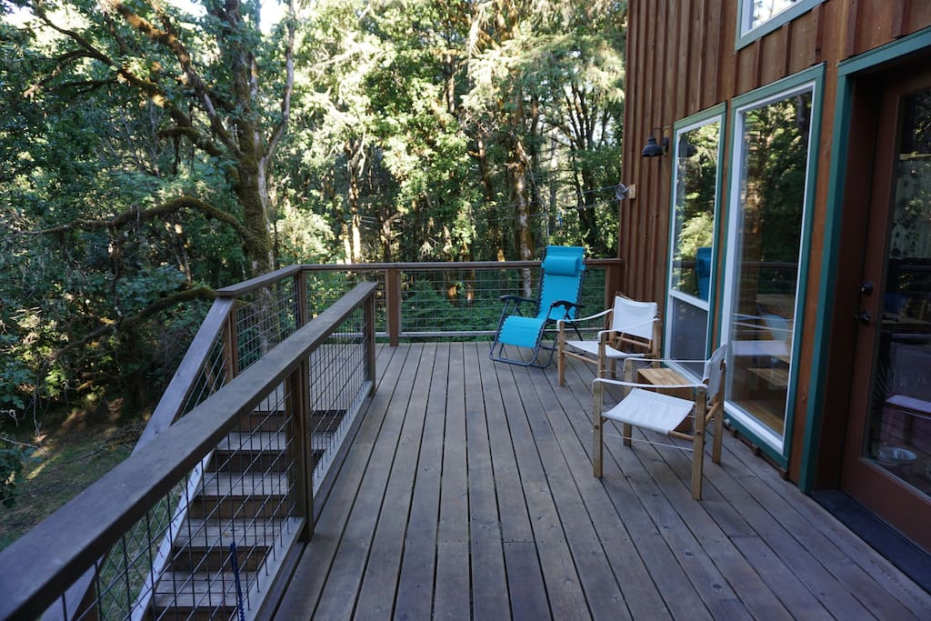 Relax on the back deck in the forest