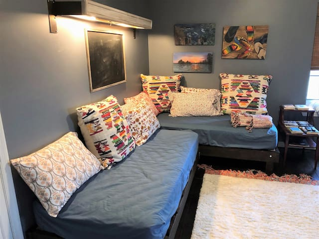 Twin day beds in this room! Beautiful décor and a great pace to relax!