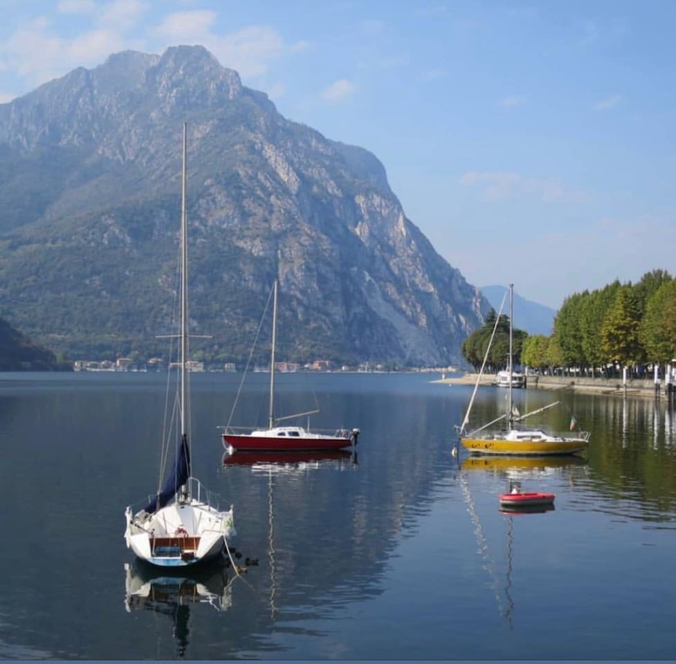 3 mins drive to Lecco. A lakeside in Alps, North Italy. The surrounding is the famous Lake Como, 45 mins to Milan, 20 mins to Bellagio. With a rich cuisine & stunning viewpoints but without the crowd of more popular towns on Lake Como or Lake Garda.
