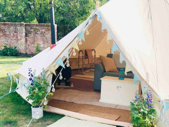 Bell Tent, Kingsize Bed, Walled Garden, Field View