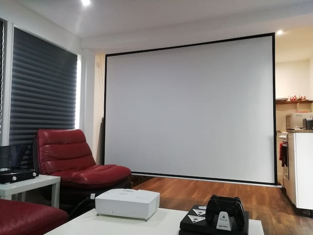 Large cinema screen with projector