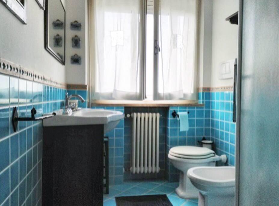 Comodo bagno con spaziosa doccia , fornito di asciugamani e asciugacapelli .