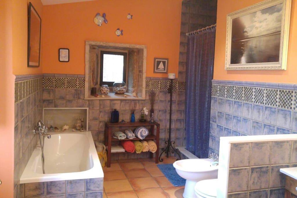 Baño contiguo con bañera y ducha