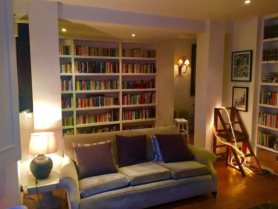 Sitting Room with wall of books