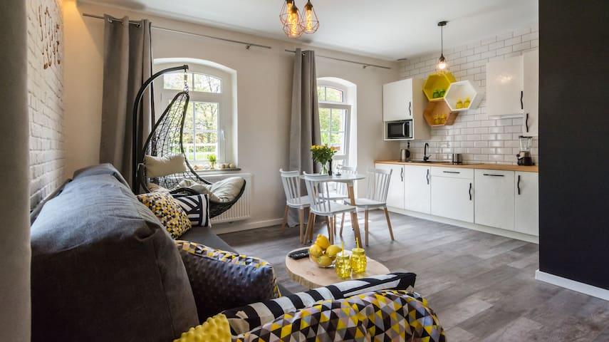 apartament koktajLOVE z biokominkiem i balkonem