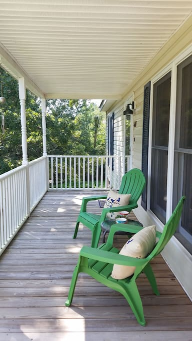 Enjoy a cup of coffee on the covered front porch