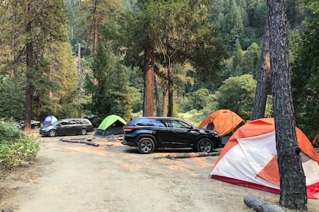 There are five tent sites all along the Feather River.A short walk to the hot springs on the property and the river. There is a good swimming hole near by as well.