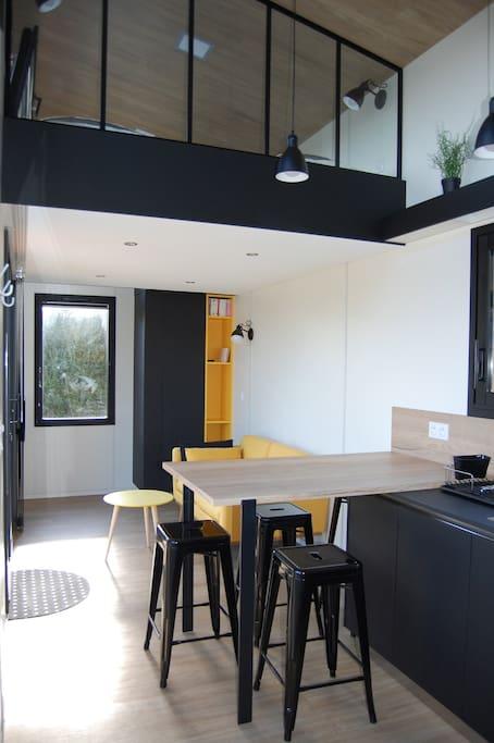 espace salon avec mezzanine 2 lits simples
