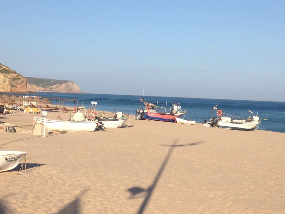 Fishing boats on beach in Salema